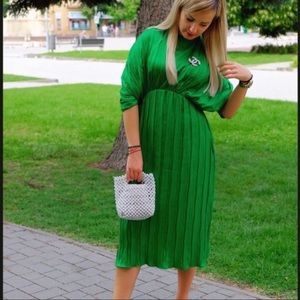 NWT Zara pleated Dress SZ L blogger favorite